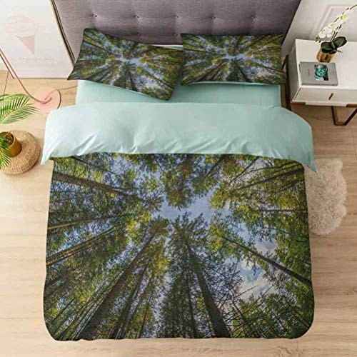 Duvet Cover Set 3 Pieces, Wild Jungle Moss Forest Crown Trees Leaves Nature Photo Artwork Print, Microfiber Duvet Cover, Luxurious & Hypoallergenic Decorative, Sky Blue Forest Green