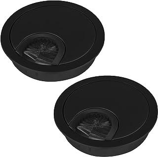 2 St. Kabeldoorvoer zwart mat Boormaat Ø 60 mm Buitenmaat Ø 68 mm Kabldoorvoer van metaal met borstelstrip van SOTECH