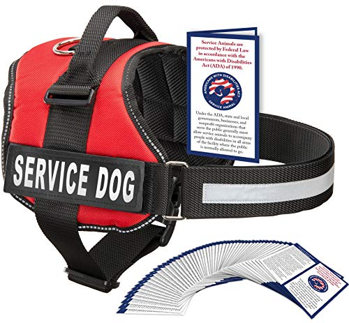 Service Dog Vest With Hook and Loop Straps and Handle - Harness is Available in 8 Sizes From XXXS to XXL - Service Dog Harness Features Reflective Patch and Comfortable Mesh Design (Red, XXXS)