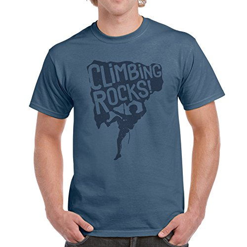 Camiseta de algodón para hombre con diseño de escalada en roca, escalada, escalada en roca, camiseta de hobby añil M