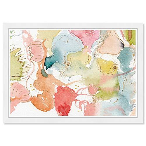 Wynwood Studio Abstract Wall Art Framed Prints 'My Wild Garden' Watercolor Home Décor, Blue, Orange