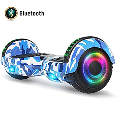 FLYING-ANT Hoverboard for Kids, 6.5 Inch Two Wheels Self Blancing Hoverboard with Bluetooth Speaker and LED Lights-Camo Blue
