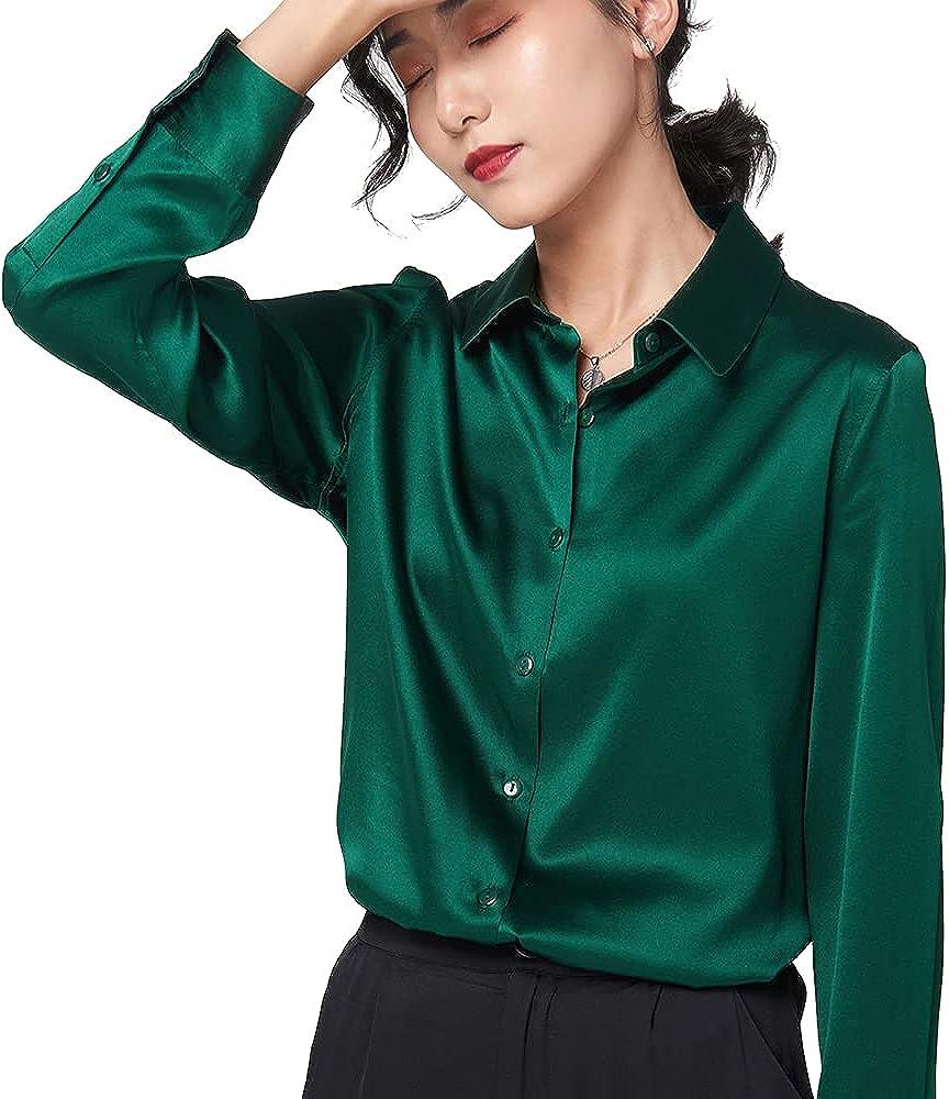 GLOBELEGEND 100% Silk Blouse for Women Button Down Silk Shirt Silk Long Sleeves ladiesTops Silky Tops V Neck Blouse