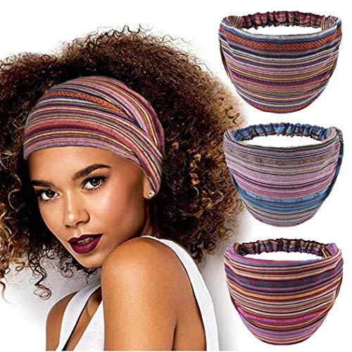 CAKURE Boho Headbands National Striped Headband Elastic Hair Bands Wide Head Wrap Bandeau Head Bands Stripe Turban Fabric Cotton Hair Scarf for Women and Girls Pack of 3 (Set1)