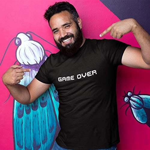 Okiwoki T-Shirt Noir Jeux Vidéo Pixel parodique Pixel Design : Game Over (Parodie Jeux Vidéo Pixel)
