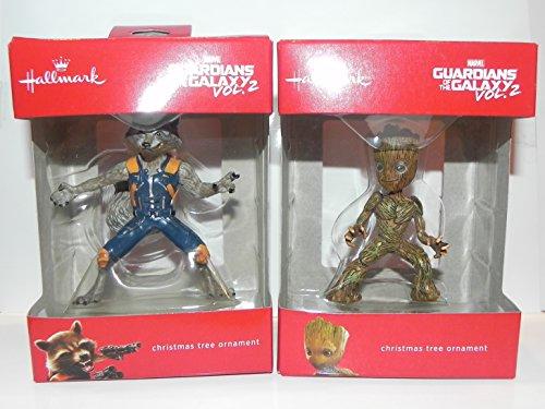 Hallmark Marvel Guardians Of The Galaxy Baby Groot & Rocket Raccoon Christmas Ornament Set