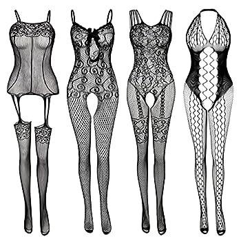 Women s Lace Stockings Lingerie Floral Fishnet Bodysuits Lingerie Nightwear for Romantic Date Wearing  4 Pack