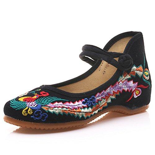 Meta-U Frauen bestickte Schuhe-Wedge-Canvas-Phoenix-Muster-Mary Jane Schuhe - schwarz - Größe: 40
