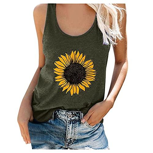 Liably Camiseta sin mangas para mujer, diseño de girasoles, para verano, suelta, sin mangas, elegante y encantador, ligera, básica, moderna sudadera Verde militar. XL