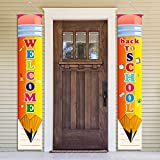 Welcome Back to School Party Decorations Porch Sign Hanging Backdrop Banner 2021 - First Day Of School Party Supplies Classroom Office School Photo Booth Prop Wall Hanging Decorations Indoor/Outdoor