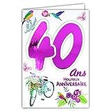 Photo de Afie 69-2132 Carte Anniversaire 40 ans Femme - Couleur selon disponibilité (rose fuschia, or. cf photos) - Vélo Cadeau Fleurs Oiseaux