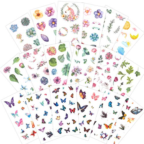 Nature Stickers Set(18 Sheets / 200+) Butterfly Flowers Leaves Stickers for Cards,Planner,Journals,DIY Arts and Crafts,Scrapbooks,Calendars,Album