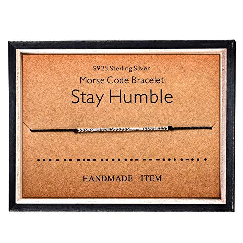 Morse Code - Pulsera de plata de ley 925 con cuentas en cordón de seda, mensaje secreto, pulsera humilde, joyería de regalo para ella