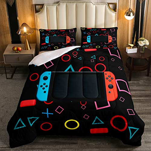 Feelyou Gamer Comforter Set for Boys Bedroom Kids Toddler Gaming Bedding Set Video Game Comforter Queen Size Home Decor Curtain Geometric Triangle Circle Quilted Duvet Set with 2 Pillow Shams Colorful