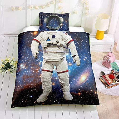 Star Bedding - Juego de funda de edredón para cama de tamaño super king para niños y niñas, espacio exterior y ropa de cama Universo de lino, 3 piezas de ropa de cama con 2 fundas de almohada