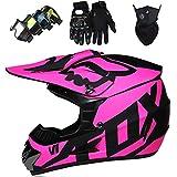 Casco Motocross para Niños con Guantes Gafas Máscara, Set Casco MTB Integral Dirt Bike para Adulto Juventud con FOX Design, Certificación DOT - Negro Mate Rosa (4 Pcs)