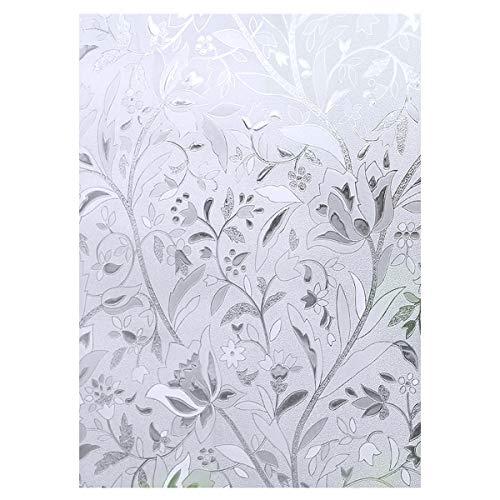 Cooja Statische Fensterfolie Blickdicht UV Schutzfolie, Sichtschutzfolie Fenster Ohne Kleber Milchglasfolie Selbstklebend Glasdekorfolie Glasfolie 3D Folie 44x200cm -Tulip Blumen Muster