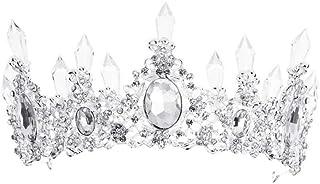 YNYA Tiare Copricapo da Sposa Barocco Copricapo da Sposa Garza Bianca da Sposa Corona Ornamenti Gioielli da Sposa Principessa