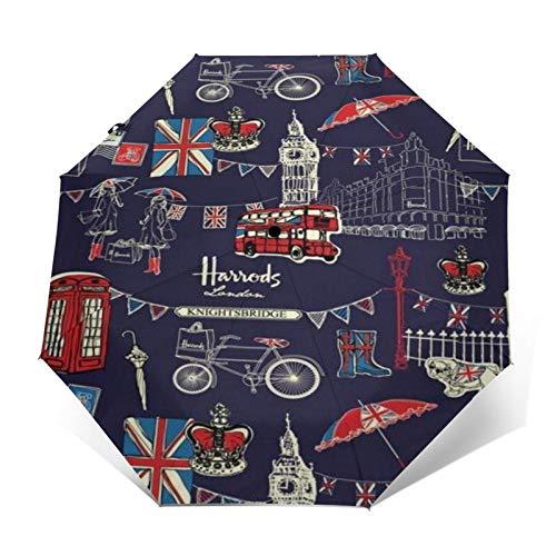 SUHETI Paraguas automático de Apertura/Cierre,Dibujado a Mano Acuarela Paisaje de Viajes de Londres,Big Ben,autobús,Paraguas pequeño Plegable a Prueba de Viento