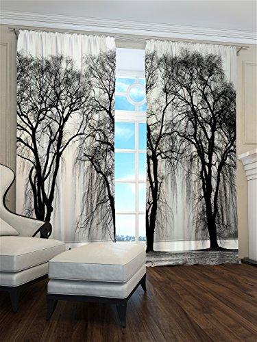 Lemare Rideaux occultants 2 x 145 x 260 cm avec Brume d'hiver Impression numérique Isolation Thermique Chambre à Coucher 2 Panneaux