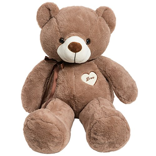 iBonny Teddy Bear Stuffed Animals Super Soft and Sweet Love Plush Bear Toy 32' Chocolate Chocolate