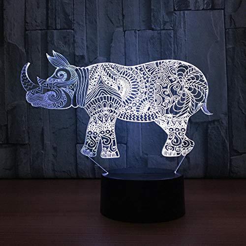 Rhino 3D petite lampe de nuit fabricant coloré coloré Led veilleuse,Smart Home Decoration 3d luminaires