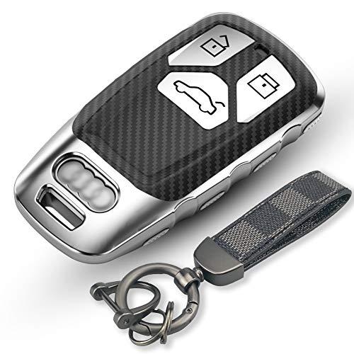 Funda de Silicona para Llave Audi Cover Carcasa de TPU Cromo Suave para Keyless Audi A1 A2 A3 A4 A5 A7 Q1 Q3 Q5 TT TTS R8 S5 S7 Protección Llaveros Mando a Distancia Smartkey de 3 Botones