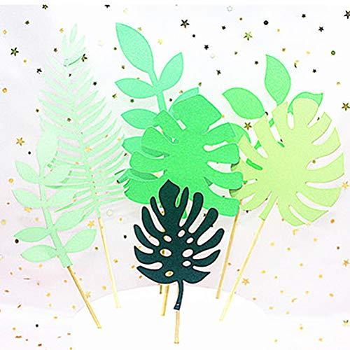 Kylewo 7pcs Hawaii Thema-groene bladeren cupcake toppers muffins decoratie cupcake picks dinosaurus taart topper voor verjaardag baby kinderen party bruiloft