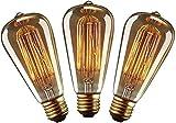 YUNLIGHTS Ampoule Vintage E27 Edison ST64 40W Dimmable Lampe Edison Vintage Décoration E27 Edison Rétro Ampoule Globe Blanc Chaud 220-240V - 3Pack