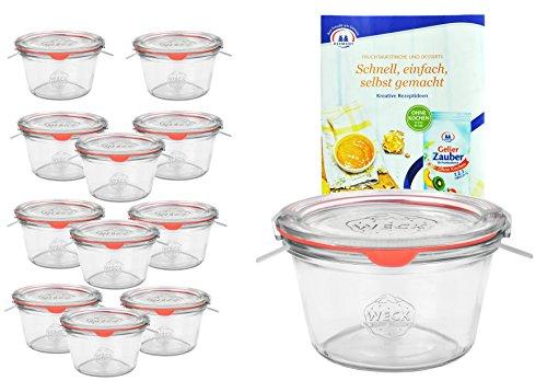 MamboCat - Set di 12 vasetti Weck da 290 ml, 1 5 l con 12 coperchi in vetro, 12 anelli e 24 mollette, con ricettario di Diamantzucker