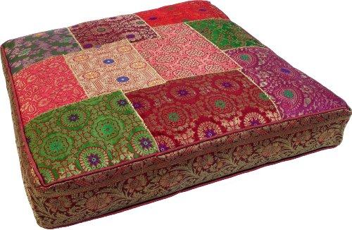 Guru-Shop Orientalisches Eckiges Patchwork Kissen 50 cm, Sitzkissen, Bodenkissen mit Baumwollfüllung - Bunt, Mehrfarbig, Synthetisch, Zierkissen, Dekokissen, Sofakissen