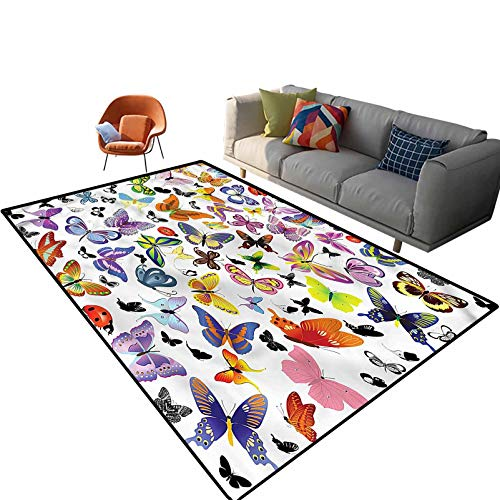 Indoor Room Butterfly Area Rugs,5'x 7',Colorful Wings Summer Floor Rectangle Rug with Non Slip Backing for Entryway Living Room Bedroom Kids Nursery Sofa Home Decor
