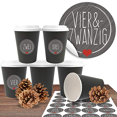"""Adventskalender zum befüllen und basteln mit 24 Coffee-to-Go-Bechern (100% biologisch abbaubar) """"Premium Schwarz"""" inkl. 24 Zahlenaufkleber """"Schick und Grau"""""""