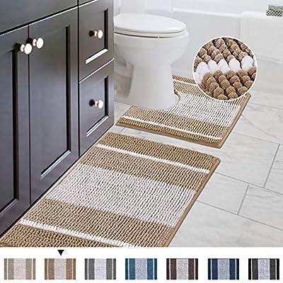 Original Striped Shaggy Chenille 2 Piece Bath Rug Set, 20x20 Square U-Shape Contoured Toilet Mat & 32x20 Carpet Rug, Machine Wash/Dry Mats, Soft, Plush Rugs for Tub Shower (Beige)