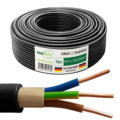 Fair Style NYY-J - Cable eléctrico (10 m, 3 x 2,5 mm², cobre, fabricado en Alemania)