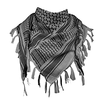 FREE SOLDIER Scarf Military Shemagh Tactical Desert Keffiyeh Head Neck Scarf Arab Wrap with Tassel 43x43 inches  Gray