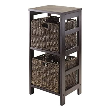 Winsome Granville 3-Piece Storage Shelf with 2-Foldable Baskets, Espresso