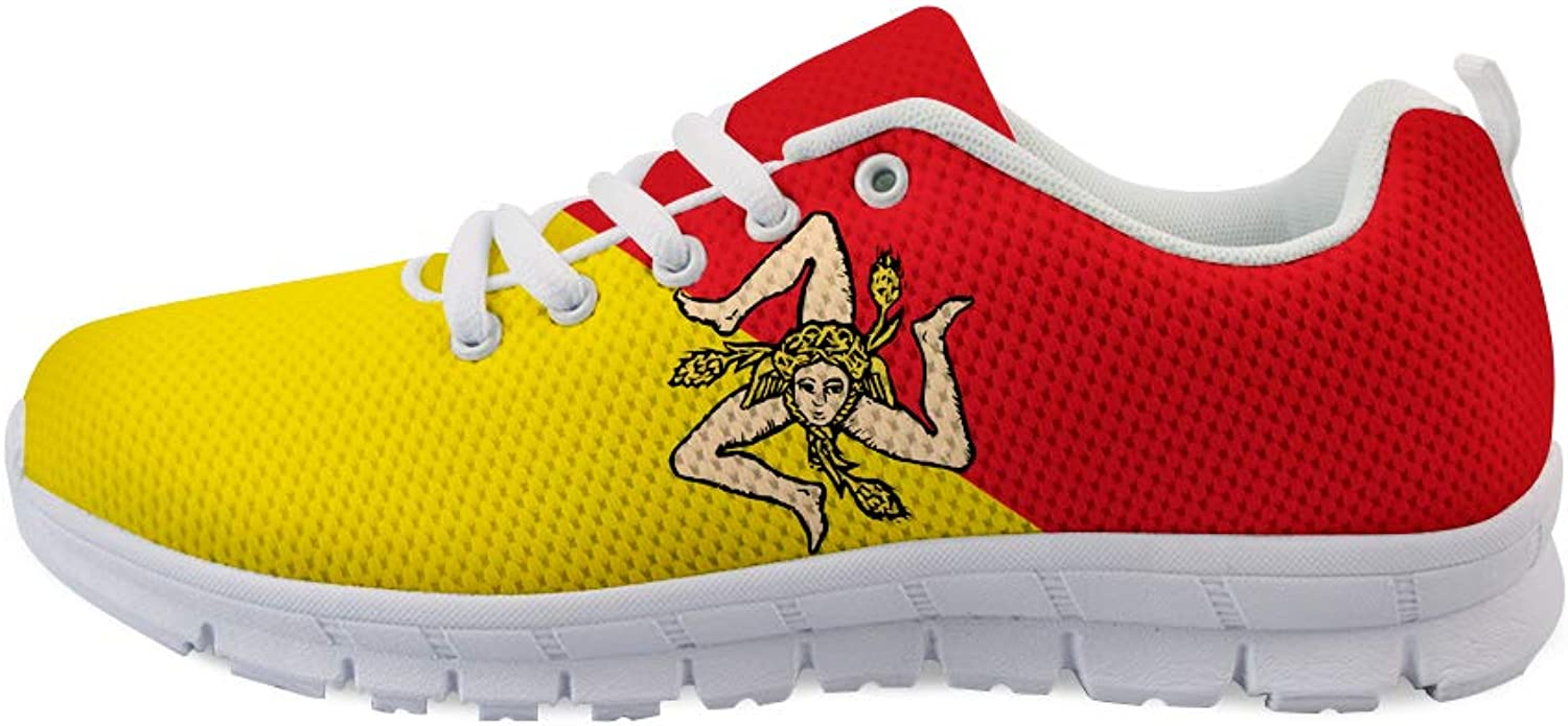 Owaheson Lace-up Sneaker Training shoes Mens Womens Sicily Flag