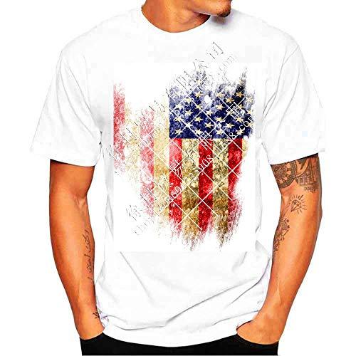Jhy Shirt Vlag 3D Short-Sleeved t-shirt heren ronde hals korte mouwen groot formaat tik, XXXL