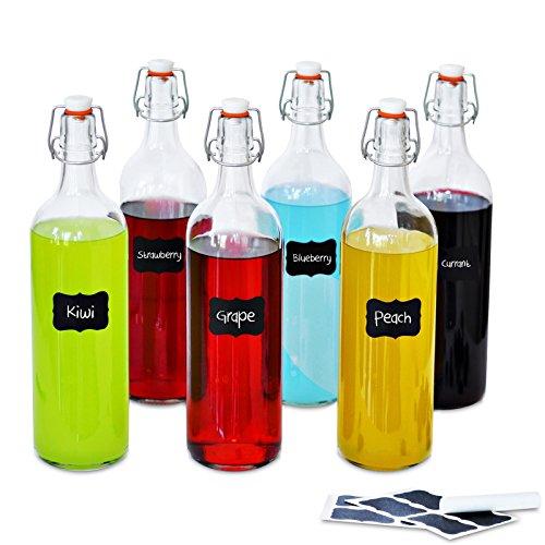 Creative Home Grande Botella Cristal Agua 1 Litro | 6 x 1L | Set con Tapa de Clip Hermético | Rellenable para Vino, Zumo y Cerveza | 8 Pegatinas Reutilizables y 1 Tiza Antipolvo
