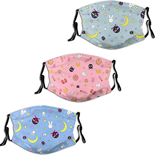 Anime Face Mask Moon Girl Sailor Face Cover with Replaceable Filter Adjustable and Washable