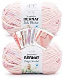 Bernat Baby Blanket Yarn - Big Ball (10.5 oz) - 2 Pack with Pattern Cards in Color (Raspberry Kisses)