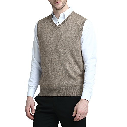 Kallspin Men's Cashmere Wool Blend Relax Fit V Neck Vest Sweater Knit Sleeveless Pullover, (L, Coffee)