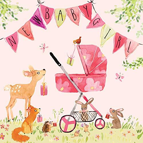 twizler Baby Girl Karte mit rosa Kinderwagen, Wimpelkette und Woodland Tiere–New Baby Karte Mädchen–Neugeborene Essentials–Congratulations–Cute Karte–Baby-Geschenke–New Baby Girl Geschenke