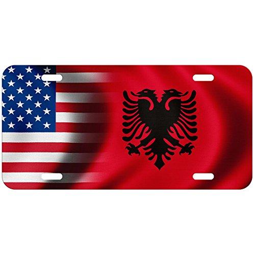 ExpressItBest High Grade Aluminum License Plate - Flag of Albania (Albanian) - Waves/USA