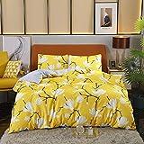 ELEH Juego de ropa de cama de 3 piezas (1 funda nórdica + 2 fundas de almohada) Magnolia flores 100% microfibra de poliéster con cremallera, funda de edredón (Magnolia, 200 x 220 cm + 2 x 80 x 80 cm)