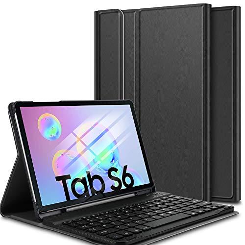 ELTD Tastatur Hülle für Samsung Galaxy Tab S6 10.5 (Deutsches QWERTZ), Ständer Hülle mit magnetisch Abnehmbarer Kabellose Tastatur für Samsung Galaxy Tab S6 SM-T860/T865 10.5 Zoll 2019 (Schwarz)