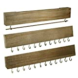 Jewelry Organizer Wall Mounted Set of 3, Wood Hanging Jewelry Organizer Holder with Removable Bracelet Rod and 24 Hooks,for Hanging Rings, Earrings, Necklace Holder (Brown)