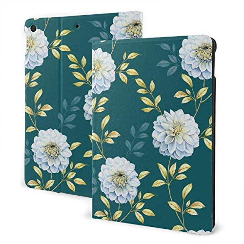 Case for iPad White Flower PU Leather Business Folio Shell Cover with Stand Pocket and Auto Wake/Sleep for iPad Air 10.5'