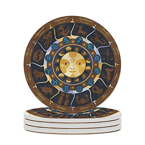 Astrology Decorative Coasters Aries Taurus Gemini Absorbent Coasters with Cork Base for Home Decor Desk Tray or Coffee Table Decor